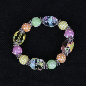 Glass Bead Spring Butterfly Flower Bracelet